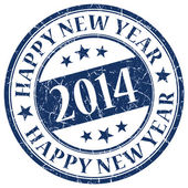 Happy New Year 2014 Blue Stamp — Stock fotografie