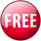 Free Round Red Glass Shiny Button — Stock Photo