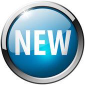 新一轮蓝色金属光泽按钮 — 图库照片