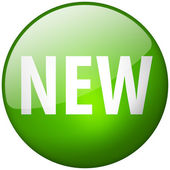 New Round Green Glass Shiny Button — Stock Photo