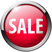 Sale Round Red Metal Shiny Button — Stock Photo
