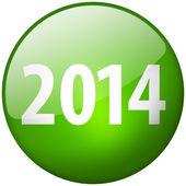 2014 Round Green Glass Shiny Button — Stock Photo