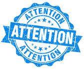 Attention grunge blue stamp — Stock Photo