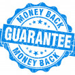 Money back guarantee grunge blue stamp — Stock Photo