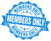 Members only grunge blue stamp — Stock Photo