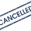 Stock Photo: Cancelled blue square stamp