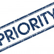 Stock Photo: Priority blue square stamp