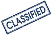 Classified blue square stamp — Stock Photo