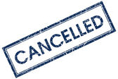 Cancelled blue square stamp — Stock Photo