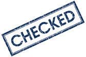 Checked blue square stamp — Stock Photo