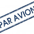 Stock Photo: Par avion blue square stamp