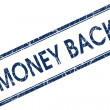Money back blue square stamp — Stock Photo