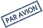 Par avion blue square stamp — Stock Photo