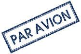 Par avion blue square stamp — Stock Photo