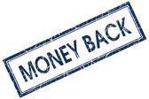 Money back blue square stamp — Stock Photo