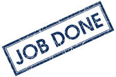 Job done blue square stamp — Stock Photo