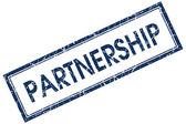 Partnership blue square stamp — Stock Photo