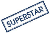 Superstar blue square stamp — Stock Photo