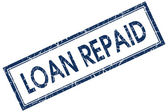 Loan repaid blue square stamp — Stock Photo