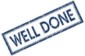 Well done blue square stamp — Stock Photo