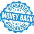 Money back blue grunge stamp — Stock Photo