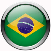 Brazil flag gel metal button — Stock Photo