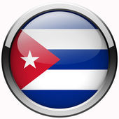 Cuba flag gel metal button — Stock Photo