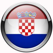 Croatia flag gel metal button — Stock Photo