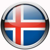 Iceland flag gel metal button — Stock Photo