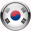 South korea flag gel metal button — Stock Photo