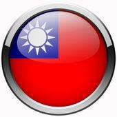 Taiwan flag gel metal button — Stock Photo