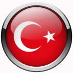 Turkey flag gel metal button — Stock Photo #32660577