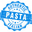 Italian pasta blue grunge stamp — Stock Photo