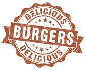 おいしいハンバーガー茶色グランジ スタンプ — ストック写真