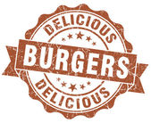 Delicious burgers brown grunge stamp — ストック写真