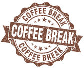 Coffee break brown grunge stamp — Stok fotoğraf