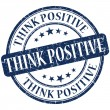 Think positive grunge round blue stamp — Stock Photo