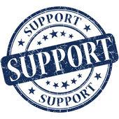 Support grunge round blue stamp — Stock Photo
