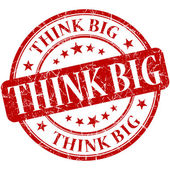 Think big grunge round red stamp — Foto de Stock