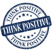 Think positive grunge round blue stamp — Photo