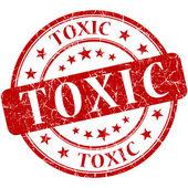 Toxic grunge round red stamp — Stock Photo