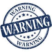 Warning grunge round blue stamp — Stock Photo