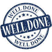 Well done grunge round blue stamp — Stok fotoğraf