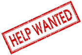 Help wanted square red grunge stamp — Stock Photo