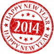 Happy new year 2014 red vector grunge stamp — Stock Vector #34265847