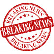 Breaking news grunge red round stamp — Stockfoto
