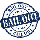 Bail out grunge blue round stamp — Foto Stock
