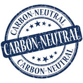 Carbon neutral grunge blue round stamp — Foto Stock