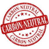 Carbon neutral grunge red round stamp — Stockfoto