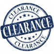 Clearance grunge blue round stamp — Stock Photo